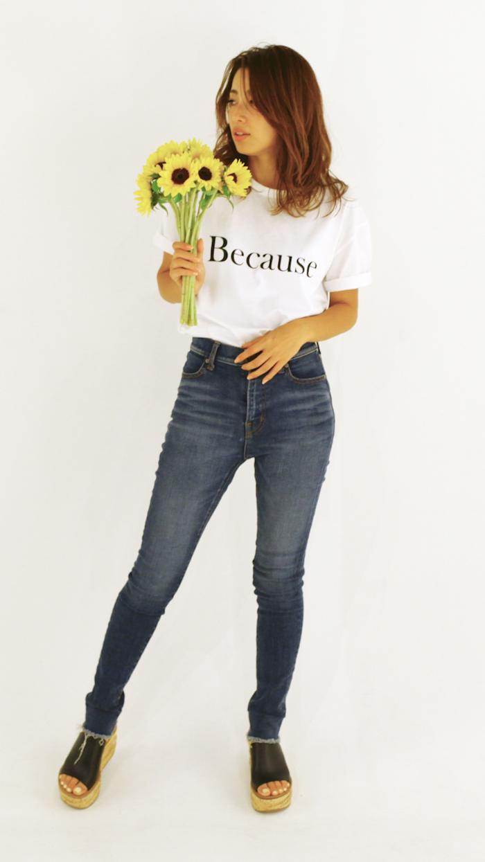 さらりと着こなしたい!JUNNAのカジュアルな白Tシャツスタイル#1