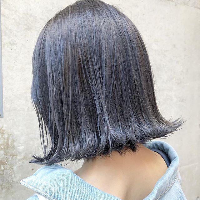 ブルーアッシュグレー で色落ちまでキレイな髪色にチェンジ Mine