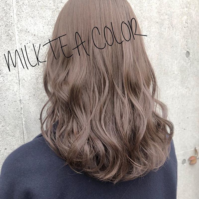 ミルク ティー ブラウン 【ブリーチなしのおしゃれ髪】最旬髪色、暗めミルクティーブラウン