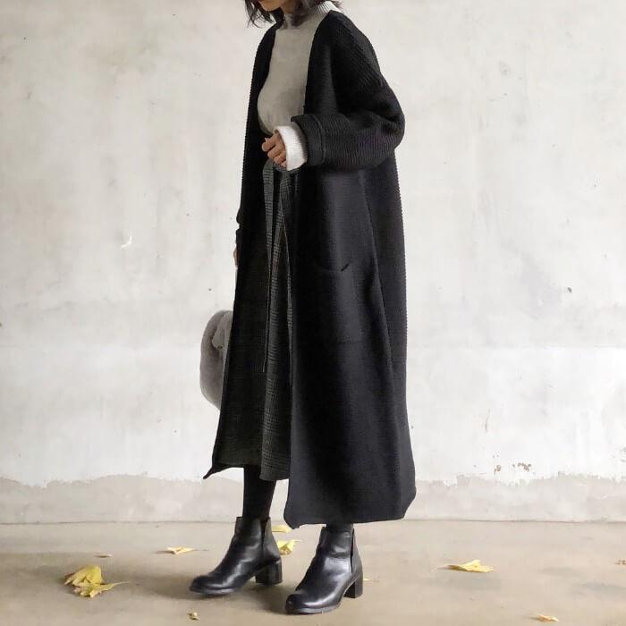 ルーズガウンコート×グレンチェック柄ロングスカート