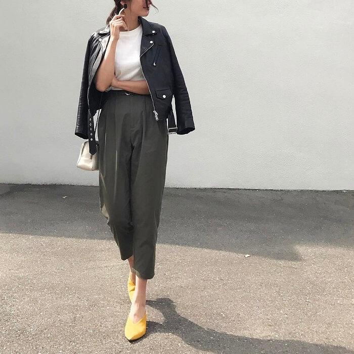 「半袖×ライダースジャケット」気温別の半袖コーデ画像
