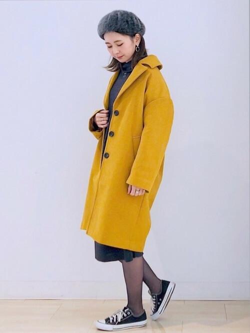 ロング丈コート×ベレー帽のコーデ画像