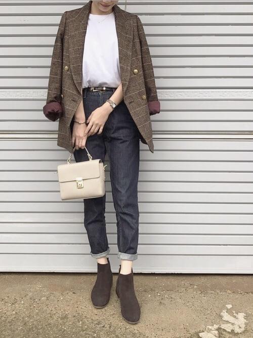 茶色チェックジャケット×デニムスキニーのコーデ画像