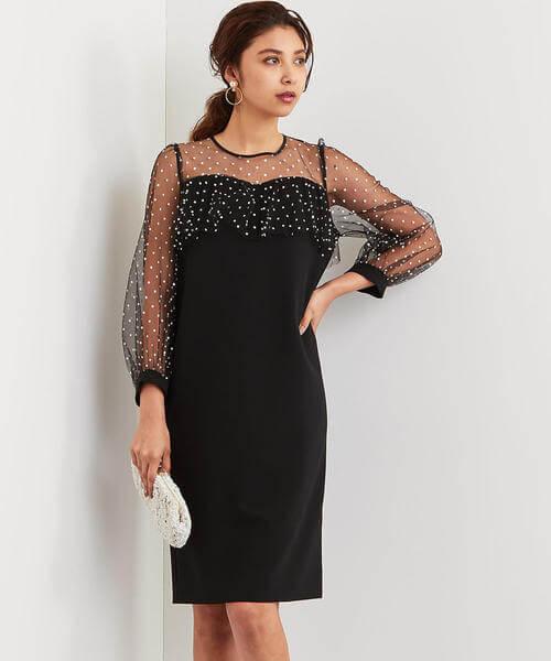 チュール切り替え黒ドレスの画像