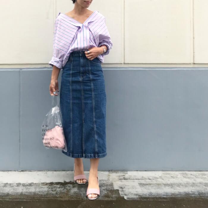 ストライプ抜き衿シャツのコーデ画像