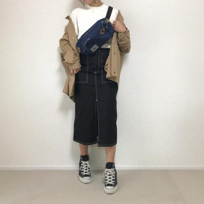 デニムペンシルスカート×ワークジャケットのコーデ画像