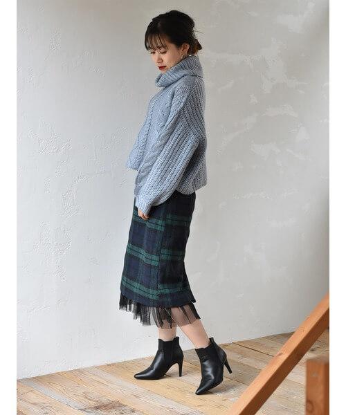 緑チェック×チュールディティールスカートのコーデ画像