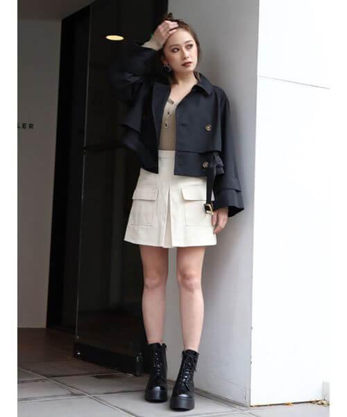 ショートジャケット×ボックススカートのコーデ画像