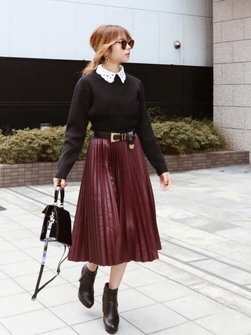 「パリジェンヌ ファッション」ワードローブの膝丈スカートの画像