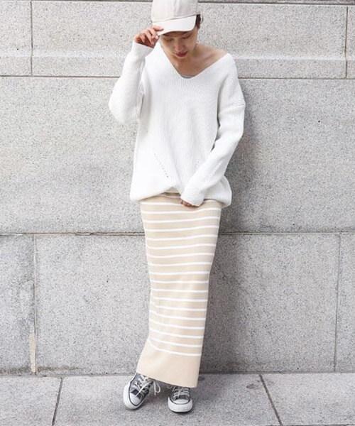 ミラノリブロングタイトスカート×白ニット