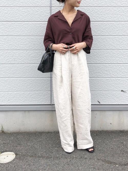 『ブラウン』リネンシャツのコーデ 画像