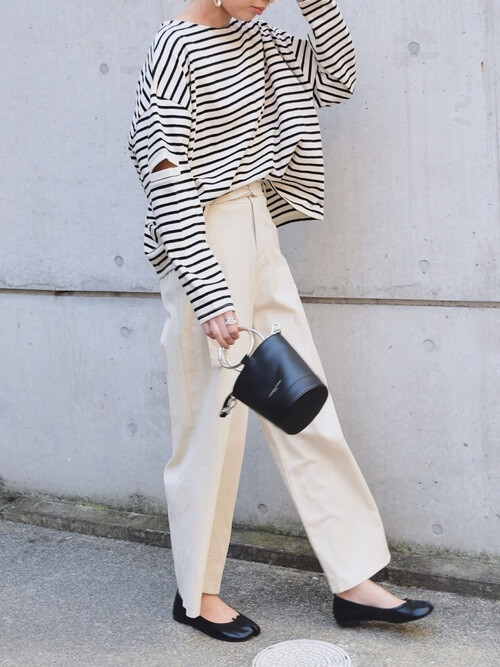 「パリジェンヌ ファッション」ワードローブのボーダートップスの画像