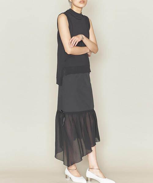 個性的なデザインとシースルー素材のヘムスカート画像