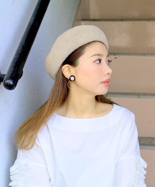 ロングヘア×ベレー帽のコーデ画像