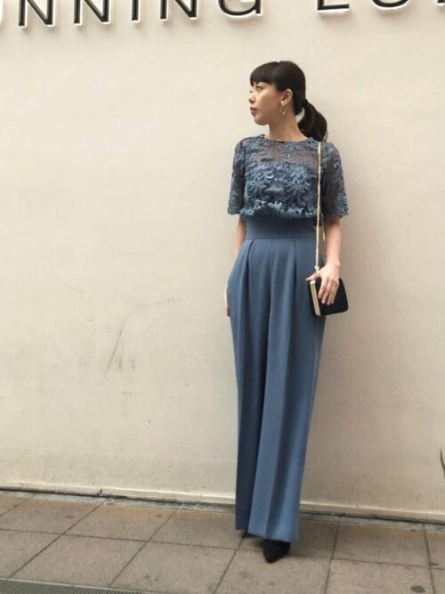 レースワイドパンツドレス〈ブルー〉のコーデ画像