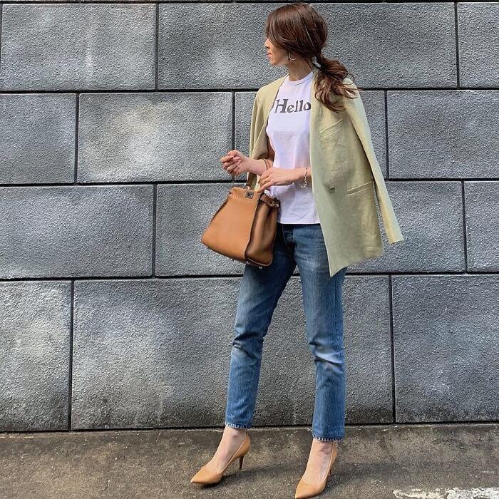 「半袖×リネンジャケット・シャツ」気温別の半袖コーデ画像