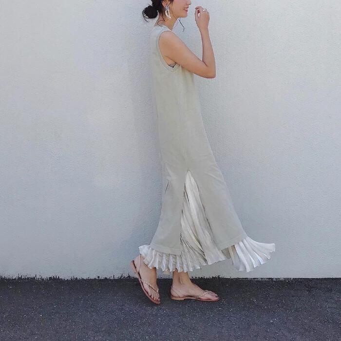スカート×ノースリーブ ワンピースのコーデ画像