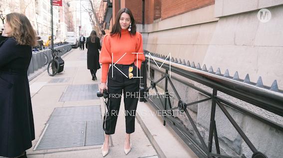 Diorのオレンジニットが主役のフェミニンスタイリング
