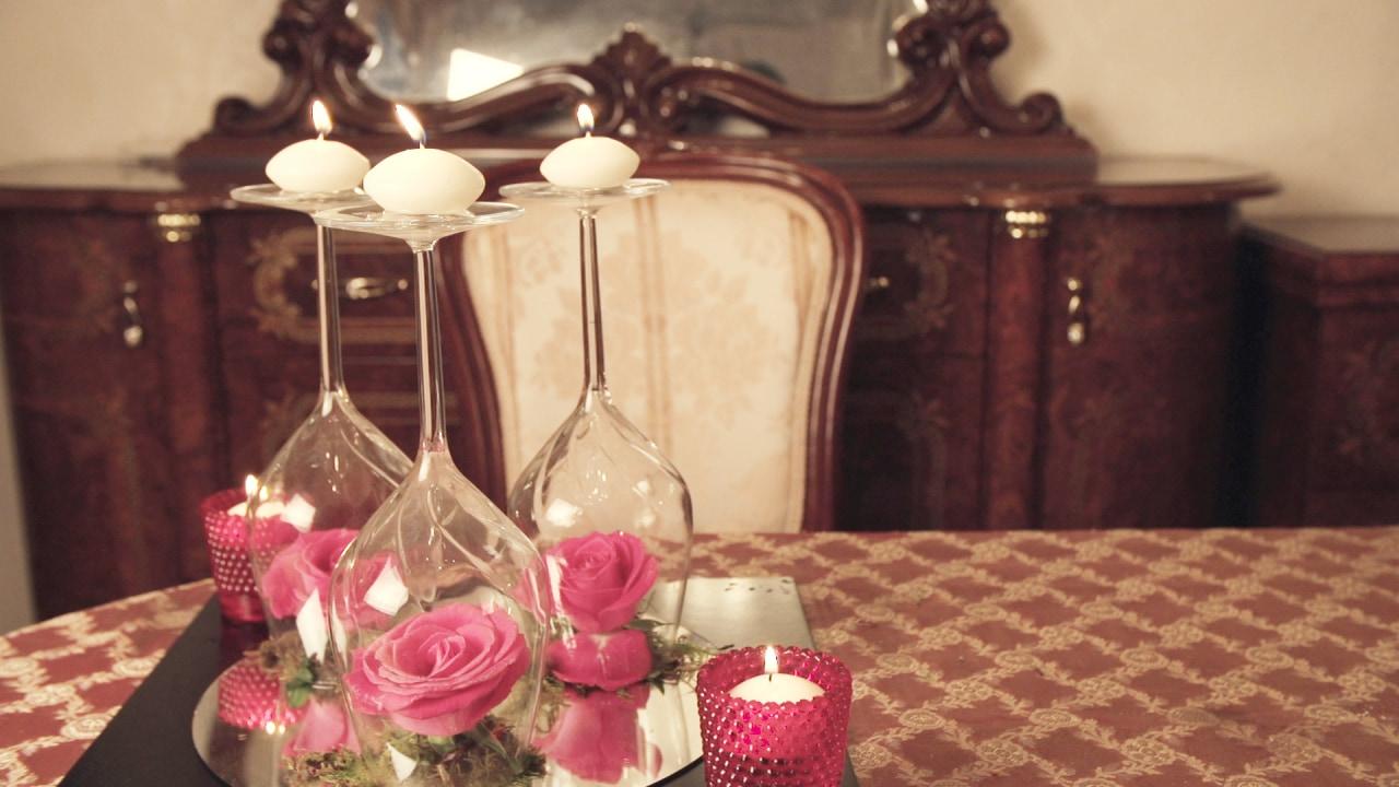 \ディナーを華やかに!/フラワーアレンジVol.1『ワイングラスとローズでつくるキャンドル立て』