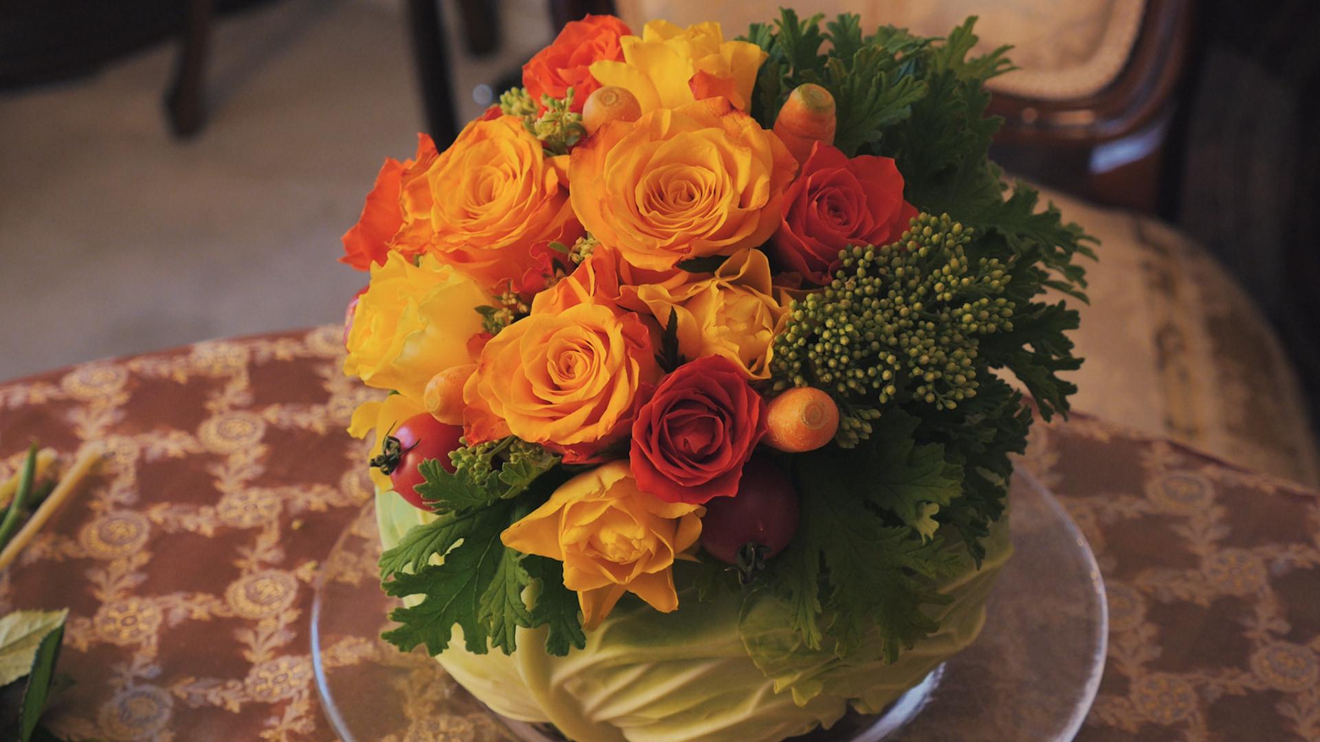 \野菜が花器に!?/フラワーアレンジVol.6『ベジタブルパーティー』
