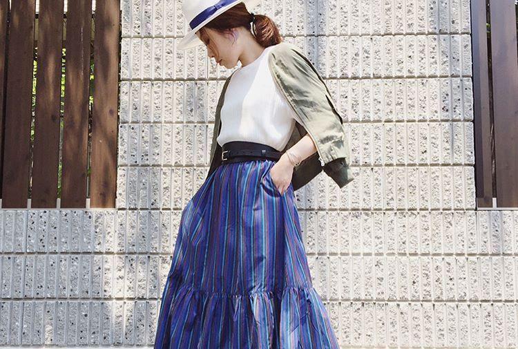ゆる感が今っぽい!ギャザースカートで作るテイスト別夏コーデ10選