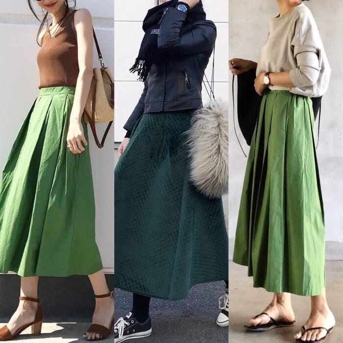 緑のロングスカートおすすめコーデ【18選】