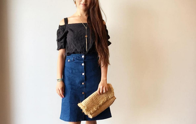 デニムスカートはフロントボタンがかわいい!ちょいレトロなフェミニンコーデを楽しむ