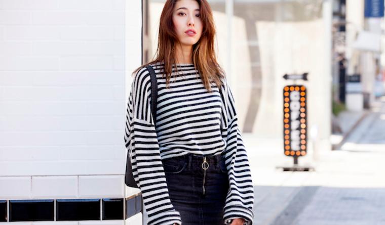 可愛げを出したいなら、流行のボリューム袖ニットを/Angieさんの7days coordinate ♯Day2