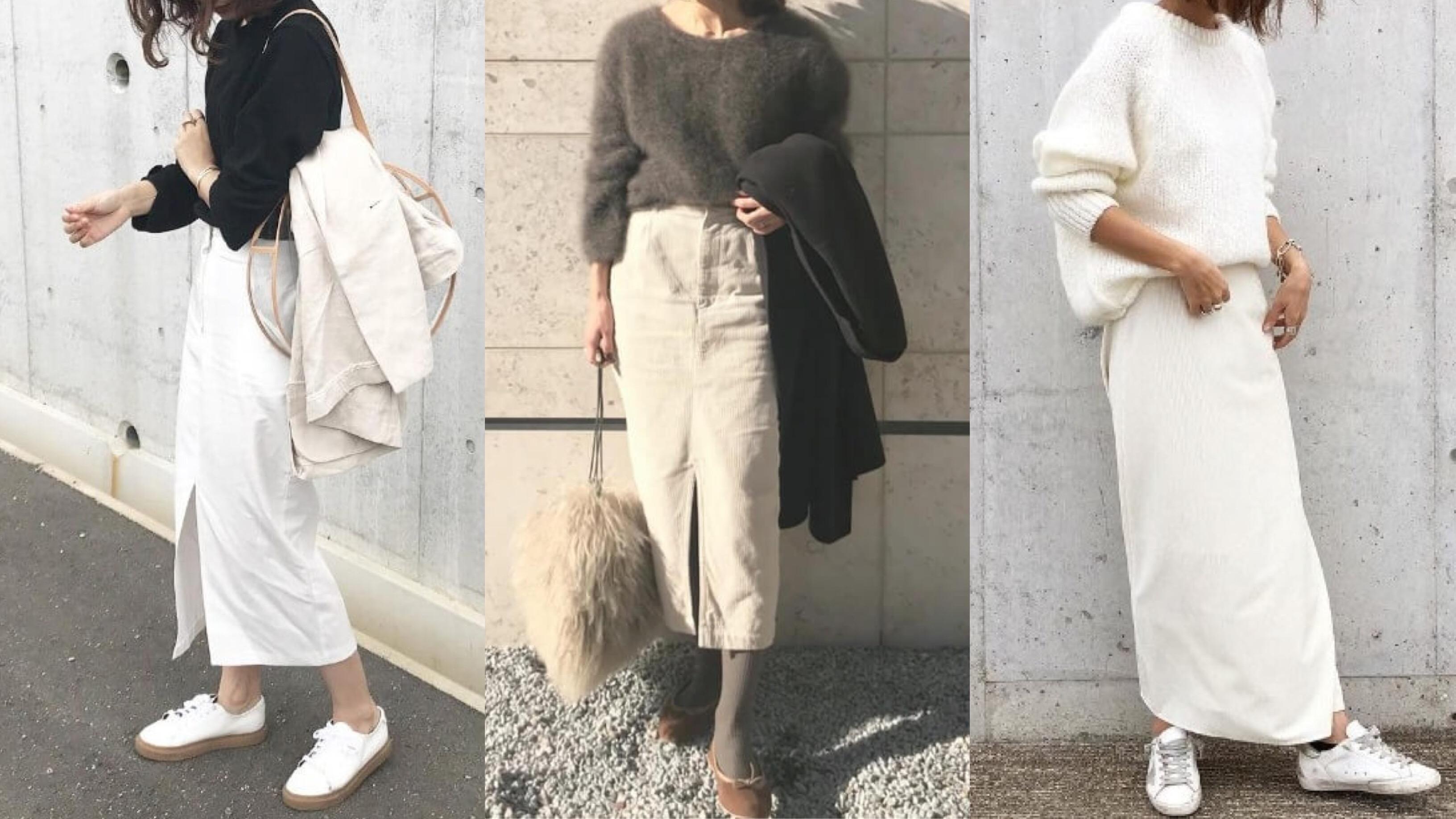 白のタイトスカートお手本コーデ【20選】