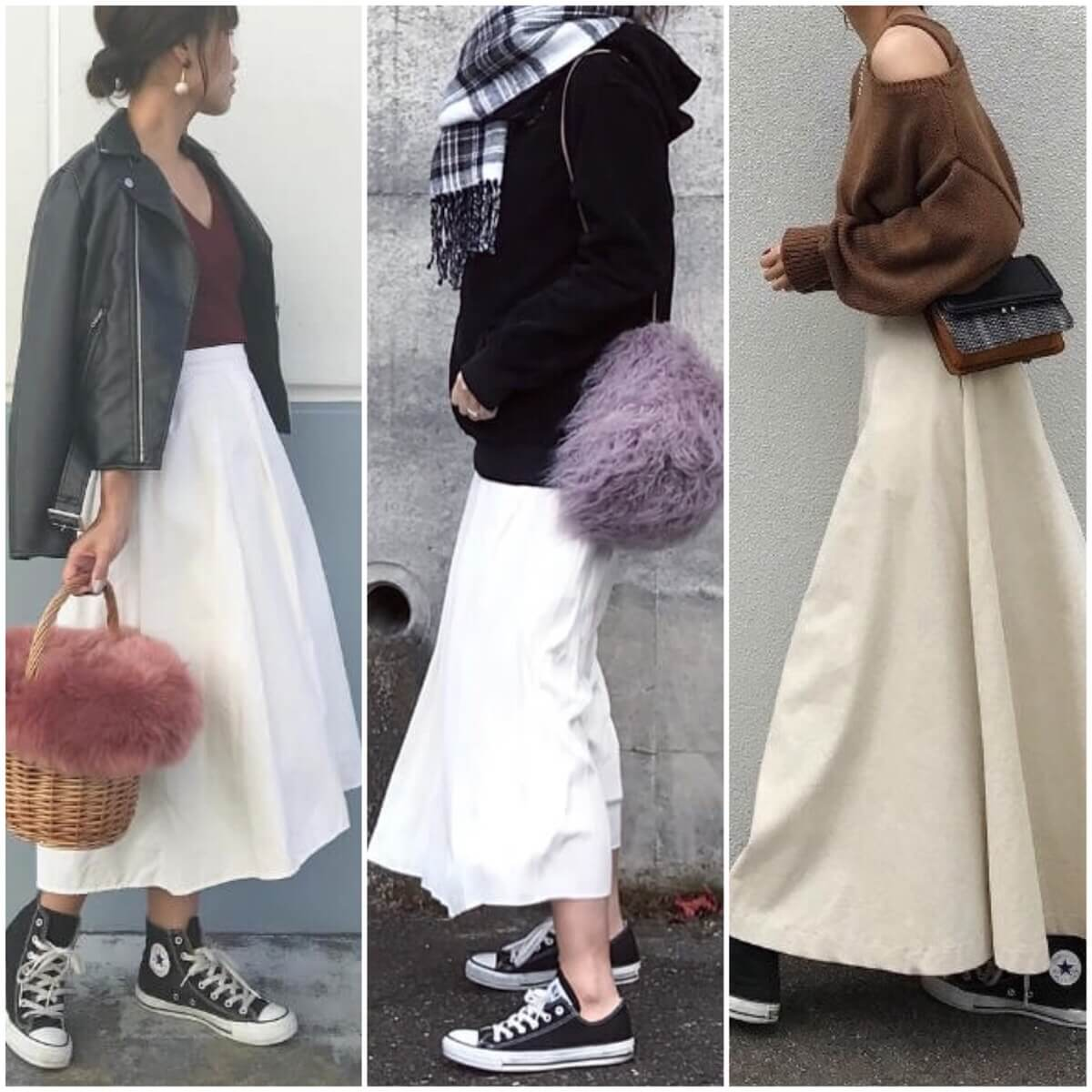 白のフレアスカート おすすめコーデ31選