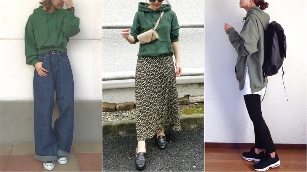 緑パーカーコーデ【レディース19選】