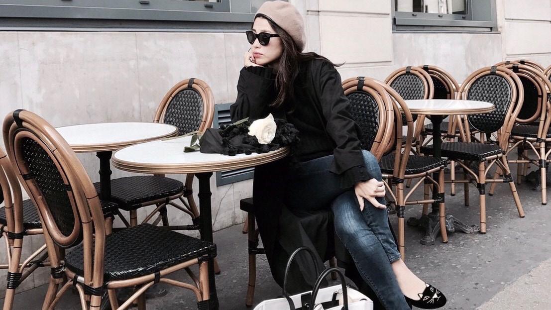 素材違いのブラックで作る立体感のあるベーシックスタイル/ETRÉ TOKYO in Paris #1