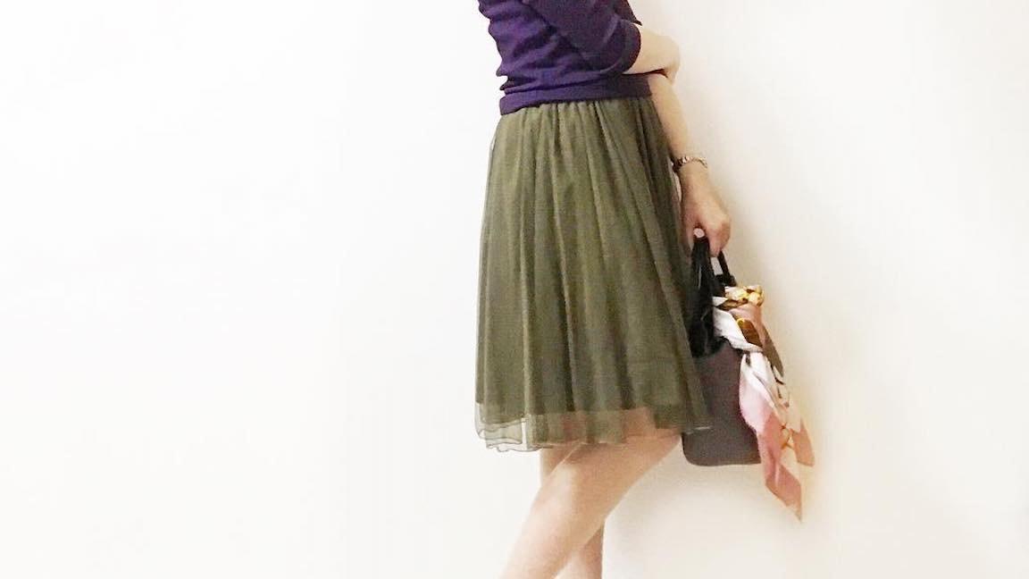 秋のコーデはシフォンスカートを着回して、いろいろな印象に仕上げましょう
