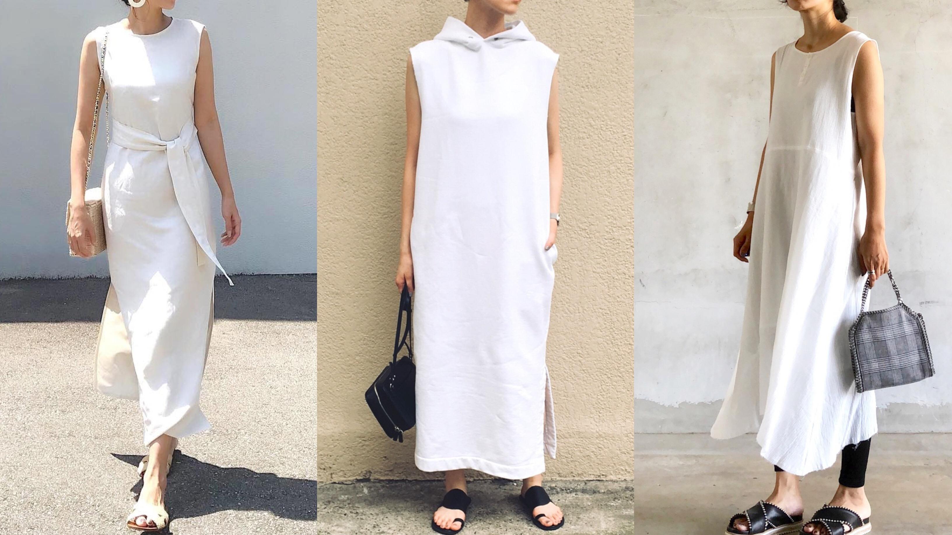 写真:白のワンピースを着用したインスタグラマー