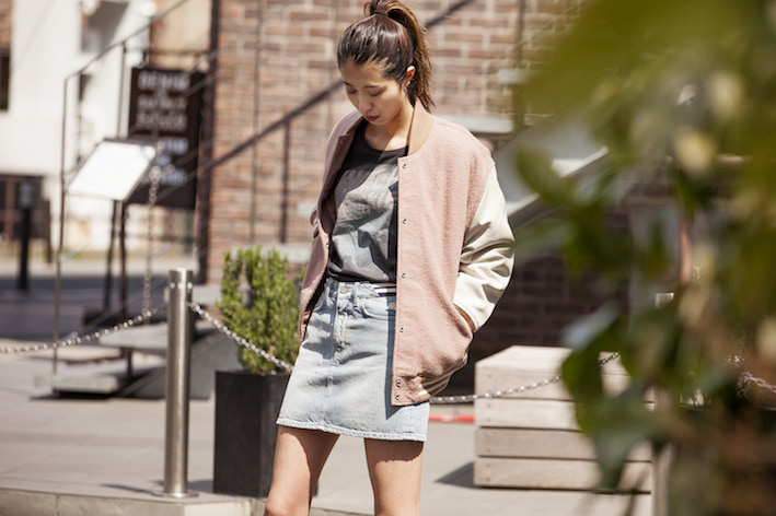 旬なピンクを取り入れたブルゾンジャケットの着こなし/Angieさんの7days coordinate ♯Day1