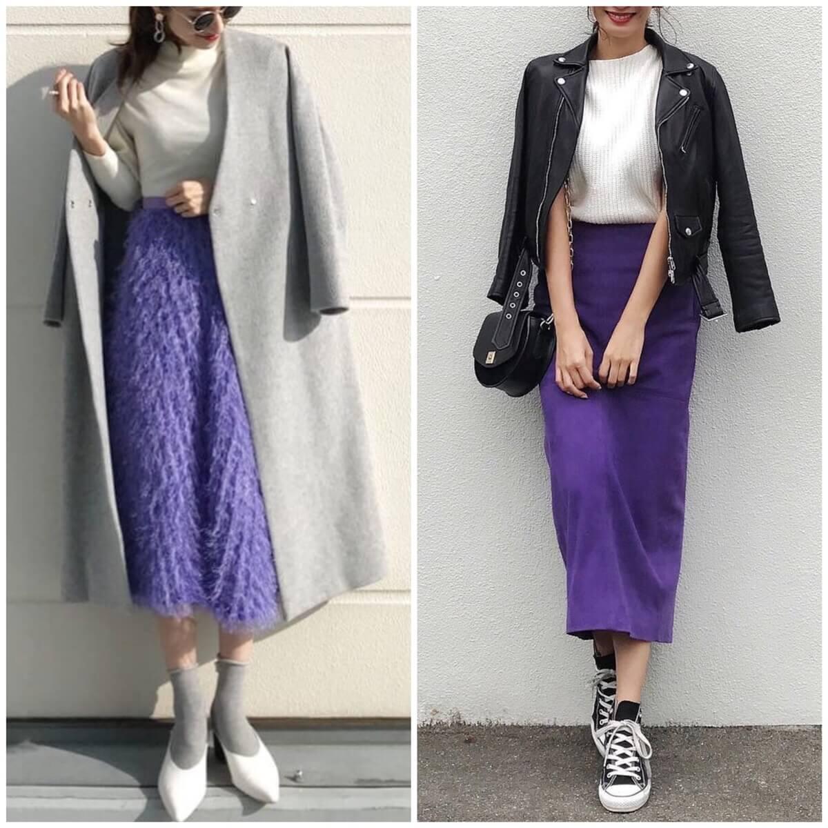 「薄い紫」と「濃い紫」に合う色【紫コーデ26選】