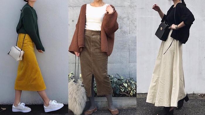 「コーデュロイスカート」コーデ【季節別21選】2020年の3つの人気色!
