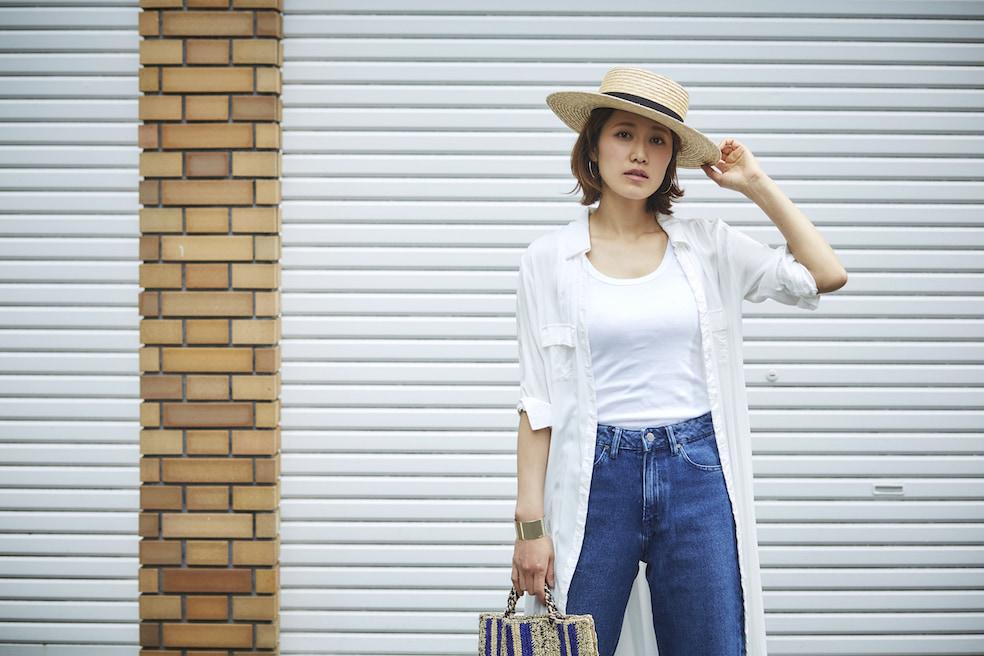 ストローアイテムとデニムパンツで作る初夏スタイル/金子みきさんの7days coordinate #Day6