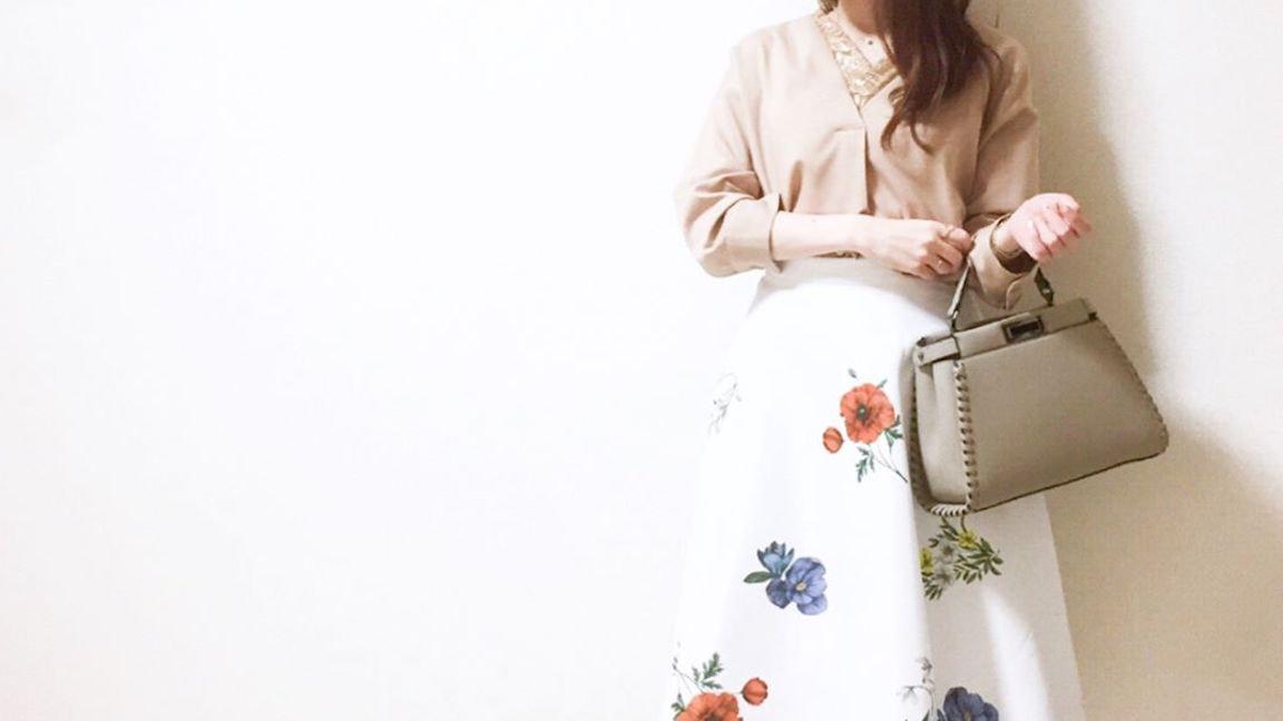 着回しできてスタイルアップ効果も!大人かわいい花柄スカート