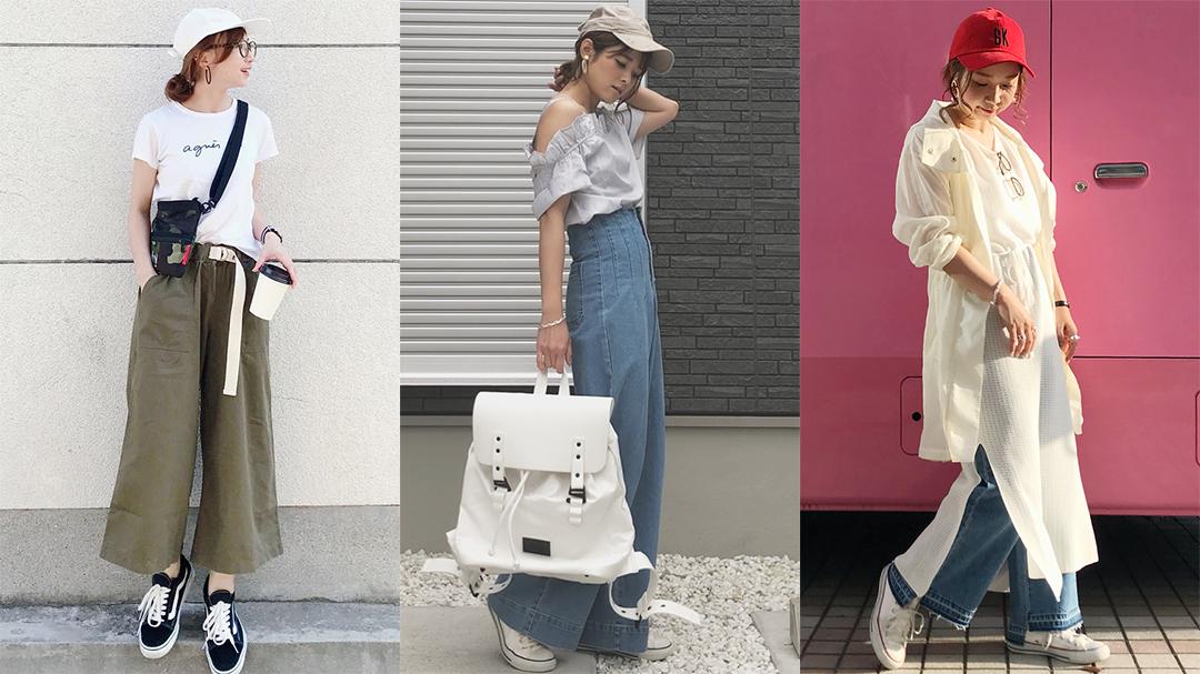 【MINESスナップ】夏のキャップ×パンツコーデはきれいめカジュアルで!