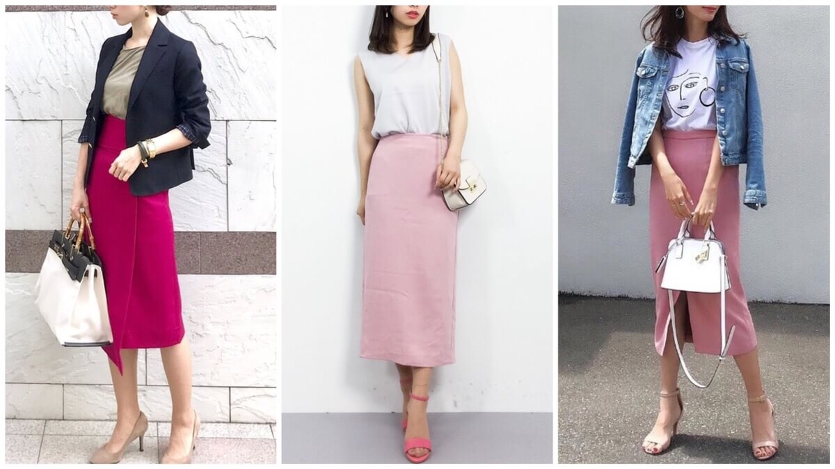 「ピンクのタイトスカート」コーデ【18選】